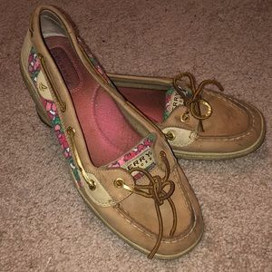 Flower sperry shoes, good condition
